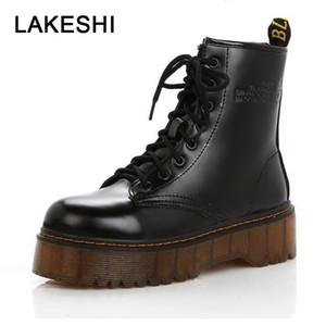 Zapatos LAKESHI mujeres botas del tobillo de Punk corto botas de mujer de cuero genuino de los botines de plataforma otoño invierno Botas Mujeres enredaderas T191116
