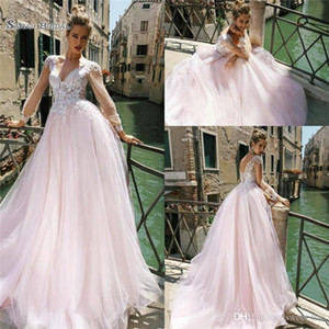 2021 Blush Pink A Line Beach Wedding Dress Long Sleeve Lace Tulle Boho Bridal Dresses robe de marriage