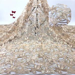 Madison African Lace Fabric 2019 Tela de encaje de alta calidad FrenchSequins Net Tulle Fabric Cordones nigerianos para vestido de novia