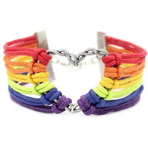 Gökkuşağı Bayrağı Eşcinsel Gurur Bilezikler LGBT Charm Kalp Örgülü Halat Bilezikler Eşcinsel Lezbiyen Aşk Kalp Tasarım Bileklik Takı Ucuz Toptan
