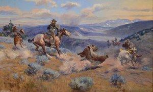 Charles Marion Russell - Boucles et Swift Horses Wall Art Decor peint à la main HD Imprimer peinture à l'huile sur toile murale Art toile photos 190901