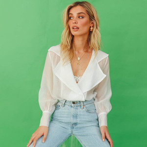 2019 Ladies Women 블라우스 Solid White Lace Up Top Summer Lantern 긴 Sleeve 시스루 블라우스
