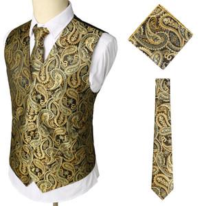 3PCS  Suit Vest Men's Party Wedding Floral Jacquard Waistcoat Vest Pocket Square Tie Suit Handkerchief Set Groom Tuxedo