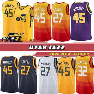 Utah Jazz 45 Donovan Mitchell Erkekler Forması NCAA 27 Rudy Gobert 12 Mike Stockton Formaları 10 Karl Conley 32 John Malone Basketbol Formaları