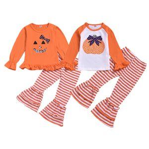 Mädchen Halloween Kleidung Set Cartoon Kürbis Ghost Gedruckt Top Kids Kleidung Mädchen Streifen Gedruckt Flaschen Hosen Outfit 6m-5t 04