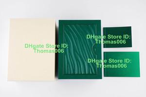 2019 Top OME Kundenspezifischer Druck Modell Seriennummer auf Garantiekarte beste Qualität Grün-Uhr-Kasten für Rolex Uhren Boxen Booklets Stichworte Paper
