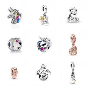 Color Unicorn Pendant DIY Owl Heart Mermaid Pearl Tree Beads Charms Necklace Fits Pandora Bracelets Accessories Girls Jewelry 1 6zn H1