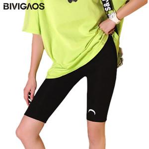 Correndo BIVIGAOS Impresso Crescent Shorts Mulheres Verão cintura alta elástica Cotton Moda Casual Shorts Desporto Biker