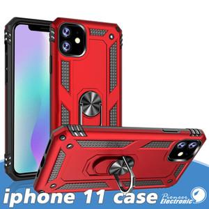 iPhone için 11 Pro Max X XS Hibrid Sağlam Darbeye Zırh Telefon Kılıfı için Samsung Note 10 s20 Artı Yüzük Manyetik Araç Tutucu Kapak Standı se