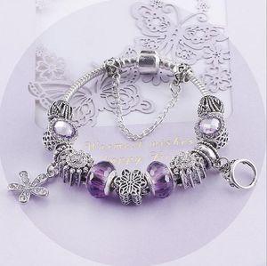 NBABuyer 925sterling Silver White cristal Murano Lampwork de vidro charme europeu Beads coração Dangle Fits Pandora colar pulseiras B8