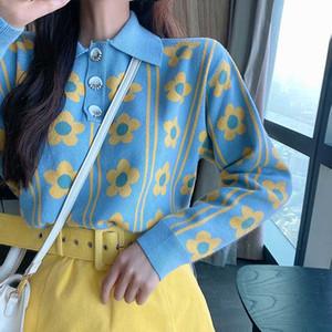 XUXI 2020 nuovo cappotto del maglione delle donne Primavera Autunno Streetwear Femme maniche lunghe Pullover risvolto Up Maglioni donna Abbigliamento FZ0385