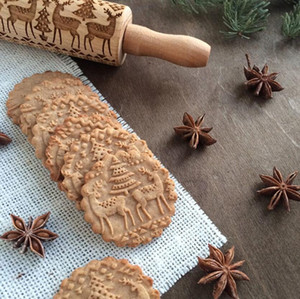 Рождество Тиснение древесины Скалка Рождество Мука Стик Roller выпекание Fondant корка пирога Cookie Тесто Roller Kitchen Tools подарок