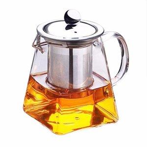 Carré en verre résistant à la chaleur Teapot Kung Fu Teapot avec filtre en acier inoxydable Passoire Infuser Loose Leaf Flower Tea Pot en verre Bouilloire