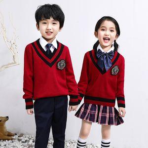 New School Children insieme uniforme Kindergarten 4 pezzi Primavera Autunno Abbigliamento unisex con scollo a V Sweater Coat Plus Size 110-170