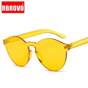 RBROVO 2020 Cateye Солнцезащитные очки Женщины Круглый Марка Дизайнерские очки Мужчины Candy Colors очки Vintage Lunette De Soleil Femme