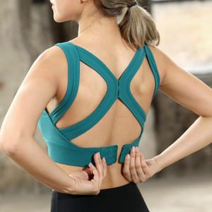Donne Bra correnti di sport di yoga del reggiseno di allenamento antiurto Gym Fitness High Impact per formazione danza carro armato della maglia regolabile