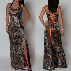 Sexy Halter Corset Mermaid Slit Camo Evening Party Dresses Camouflage Long Prom Party Gowns Formal Dress with Lace Up