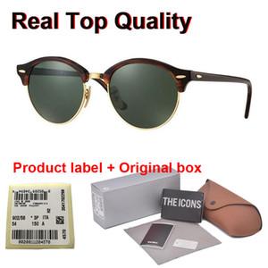 Perakende durumda ve etiket ile marka tasarım 4246 Yuvarlak Güneş (cam Lens) Asetat Çerçeve Güneş Gözlükleri Erkek Kadın Sürücü UV400 óculos ustası
