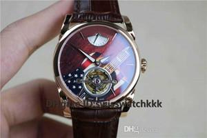 JB Top PFS251 Wristwatches Real tourbillon Swiss Hand-winding Sapphire Power reserve Display 18k Rose Gold Case calfskin strap Mens Watch