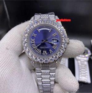 do Prong Set Homens de Prata diamante 43 milímetros Moda Cara do relógio Blue Diamond Strap aço inoxidável de alta qualidade relógio automático