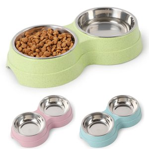 Wheat Straw Round Two-in-one Double-layer Pet Bowl Feeding Water Feeder Stainless Steel Bowl Pet Supplies
