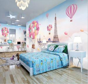 Cute Cartoon wall covering hand painted hot air balloon wallpaper boy girl bedroom background wall children room wallpaper mural