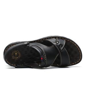 La venta caliente zapatillas de moda de doble uso ocasional zapatilla de masaje antideslizante Cowskin sandalias ZY309
