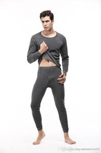 2pcs Roupa Define Suits Sets Bottoming pijama Mens Inverno Pijamas Sólidos Calças Cor camisetas longas
