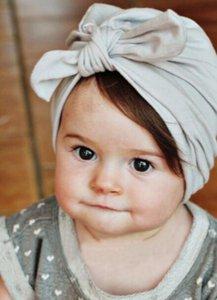 Moda Sevimli Bebek Bebek Çocuk Yürüyor Çocuk Bunny Kulakları Düğüm Hint Türban Renkli Sevimli oğlan kız Çörek Şapka Pamuk Kap