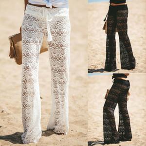 Été femme Pantalons Crochet large plage Leg Pants See Through Maillots de bain Long Beach Pantalons Femme Mode Casual