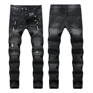Classique Noir Gris Couleur Mode Hommes Jeans Coupe Slim Denim Motor Jeans Homme Pantalon Balplein Biker Jeans Hommes