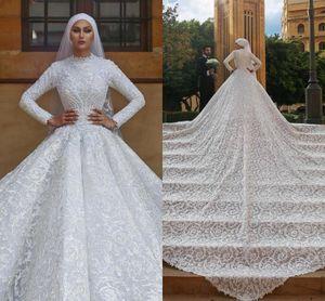 Luxe musulman Robes de mariée en dentelle florale Cour Appliqued train haut col Robe de mariée modestes Custom Plus Size manches longues Robes de mariée