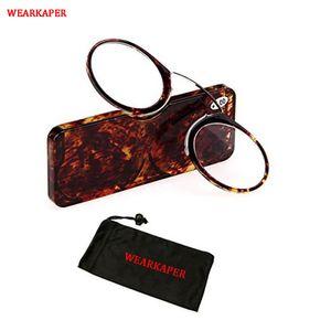 Size Glasses Leopard Nose Glasses Reading Emergency WEARKAPER Case Portable Mini Presbyopic Clip With Wallet Glass Qcjbr