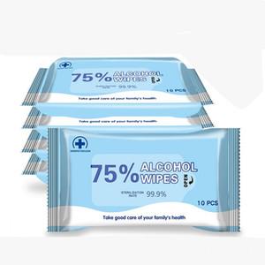 75% de alcohol Toallitas 200 * 150 mm anti toallita húmeda portátil desinfección Dipe 10pcs / pack (10 Hoja / lot) Antiséptico Limpiador Esterilización
