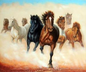 Framed Cavalli Mustang branco selvaggio Stampede, autentico dipinto a mano occidentale Cowboy Art Animal pittura ad olio su tela di canapa, formato J067 qualità del museo Multi