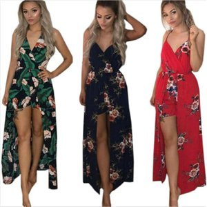 Boho Sexy Summer Playsuit Strapless Print Floral Jumpsuit Shorts Plus Size Overalls for Women Maxi Rompers Beach Bodysuit S-3XL