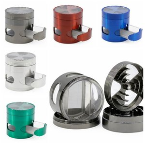 Grinder Signal Tooth Metal Grinders With Drawer Side Opening Window 4 Layers Herb Grinder Spice Crusher Muller Smoking Accessories DHA268