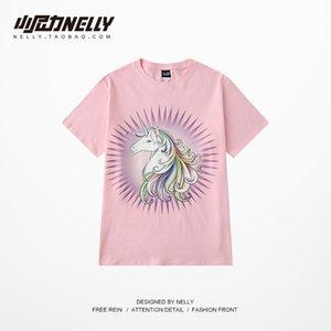 Einhorn T-Shirt weiblich rosa 2019 Frühjahr neue Online-rote Cartoon-T-Shirts lose mittel lange kurze Ärmel weg von den Vermissten