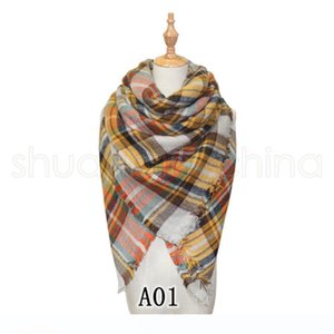 40 Style Women Plaid Scarf 140*140CM Fashion Warm Winter Square Shawls RetroTravel Lattice Knitting Warp Scarves LJJ_TA1292
