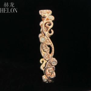 Helon Diamonds Band Solid 14kt / 585 Rose Gold natürliche Diamanten Hochzeitstag Damenschmuck feinen Ring Y19052301