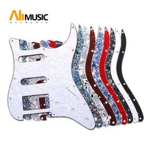 ST FD Elektrik Gitar için Çoklu Renk 3 Kat 11 Delikler SSH Gitar Pickguard çizilmeye karşı Plakası