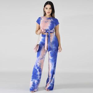 Tie-Dye Print Tracksuit Short Sleeve Bandage T-shirt Crop Top + Pants Leggings 2 Piece Women Set Lace Up T-shirt Outfit Street Suit Clothing