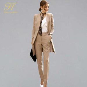 H Han Queen New Formal 2-piece Suits Women 2020 Весна элегантный V-образным вырезом деловой костюм растениеводство топ Высокая талия длинные брюки рабочий комплект