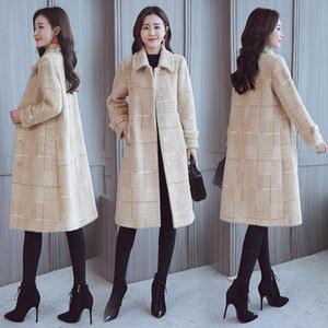 Шерсть Coat Женщины Корейский плюс бархат Толстая Lady Plus Long Lady Осень женщин пальто зимы Экстра Размер ветрозащитный Теплый кашемира