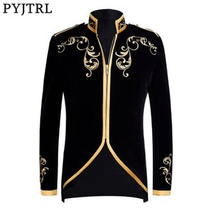 PYJTRL İngiliz Stil Prens Moda Siyah Kadife Altın Nakış Blazer Düğün Damat Slim Fit Ceket Şarkıcılar Coat
