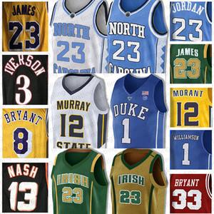 NCAA LeBron James 23 Jersey Allen Iverson 3 23 Michael 12 Ja Morant Zion 1 Williamson 33 Bryant Basketball-Trikots Earvin Johnson Universität