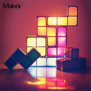Diy Noite Criativa Tetris Bloco Moda Constructible Atmosfera Lâmpada Led Light Us Plug Q190611