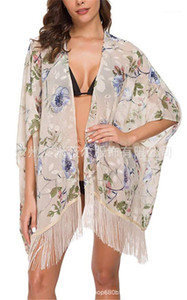 Bikini Bluse mit Blumen Strand-Art-Bikini-Cardigan Vertuschungen EuropeanAnd American Summer Wind Swimsuits Bluse Sexy Chiffon Frauen