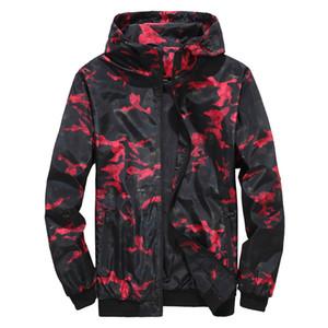 Mens chaquetas de camuflaje de diseño Casual bolsillo con cremallera para hombre chaquetas con capucha de moda Ronda Hem ropa ajustada varones