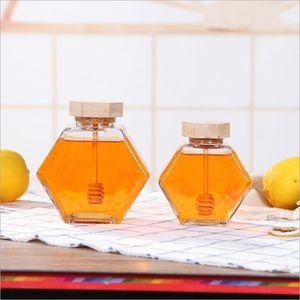 الزجاج العسل جرة ل220ML / 380ML البسيطة العسل الصغيرة زجاجة الحاويات وعاء مع ملعقة خشبية عصا EEA1353-3
